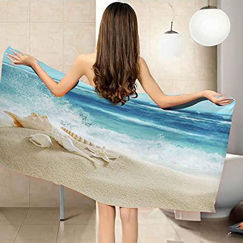 CGBNDS Toalla de Playa Grande 75X150cm Concha de Playa de océano Azul Toalla de baño con Muy absorbentes, Ligeras y de máxima suavidad Ideal para Playa Picnic Acampada o Actividad al Aire Libre