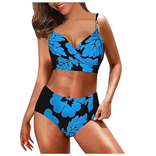 YAOBF O Neil Badeanzug Bikini Damen Sexy Push Up Bikinioberteil mit Shorts Strandbikini Tankini Mit Arm Badeanzug Tankini Damen Bauchweg (Blau,XL)