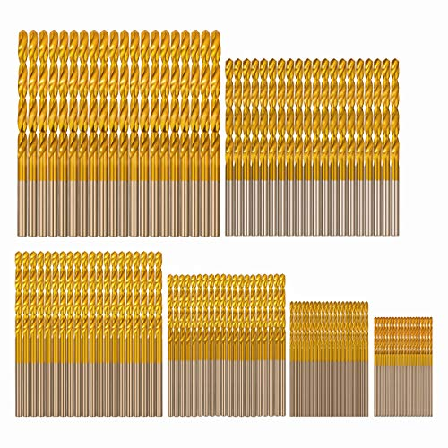 COMOWARE Wood Drill Bit Set 120 Pcs- Titanium HSS Drill Bits for Wood, Plastic, Copper, Aluminum Alloy, 1 mm to 3.5 mm