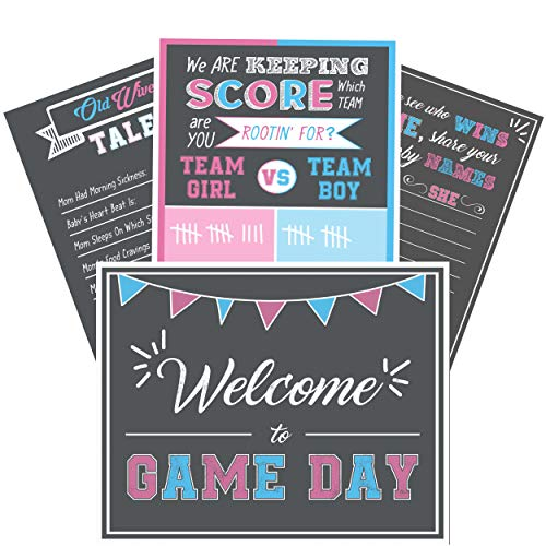 """Baby Gender Reveal Party Supplies- 4 Posters for Games and Decorations - Kit Includes 16 x 20"""" Old Wives Tales, Voting Scoreboard, Name Suggestions and Welcome Sign- Team Pink or Blue, Boy or Girl"""