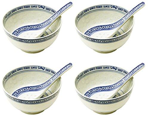 bick.shop Reisschüssel + Löffel Porzellan Schale Chinaporzellan Reiskorn Reisschale Asia (4X)