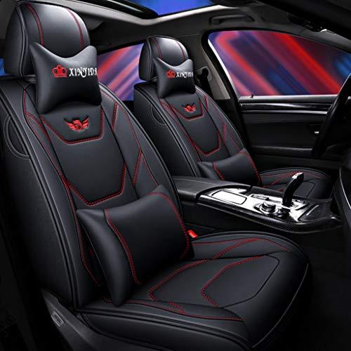 JDWBT Auto Sitzbezüge Set Leder, Luxus Full Set Universal Vorne Hinten Sitz Auto Innen Kissen Fit 5 Sitze Auto Atmungsaktiv Komfortabel (Color : Black red)