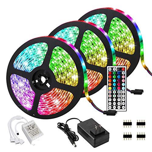 15M LED Streifen RGB 5050,LED Strip 450 LEDs,LED-Lichtleisten 50ft,3 Rollen LED-Lichtleisten mit Fernbedienung Farbwechsel mit 20 Farben 6 Modi