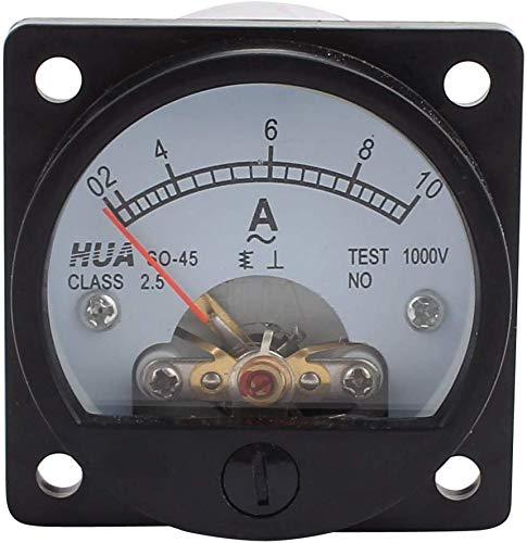 Amperemeter,Analog Panel Meter, Klasse Amperemeter, Rundes Analog-Panel-Messgerät, 2,5 Genauigkeit,AC 0-10 A,Schwarz