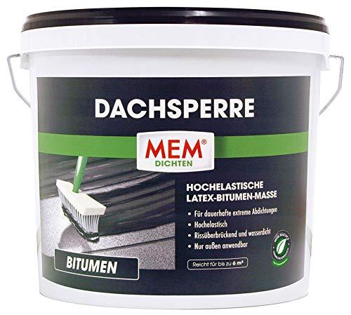 MEM Dach-Sperre - 12 L - Latex-Bitumenmasse - Zur dauerhaften Abdichtung - Rissüberbrückend und Wasserdicht - Für die Verwendung bei Flachdachsanierungen und Neubauten im Außenbereich - 30836513