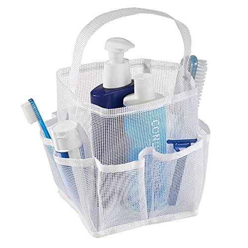 mDesign Shower Caddy Badezimmer Aufbewahrung – Duschkorb zum Hängen oder Stehen aus Netzstoff für Shampoo, Conditioner, Seife – weiß