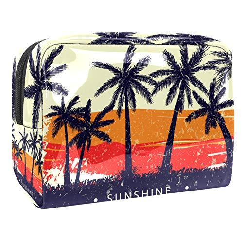 Bolsa de Lavar Palmetto Tropical Bolso de Tocador Hombre Neceseres para Maquillaje PVC Bolsa de Cosméticos Impermeable Bolsa de Lavado Viaje 18.5x7.5x13cm