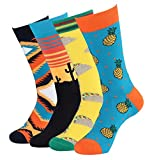 Men's Novelty Colorful Fruits Pattern Dress Socks for Men Casual Cotton Crew Socks (4 Pairs)