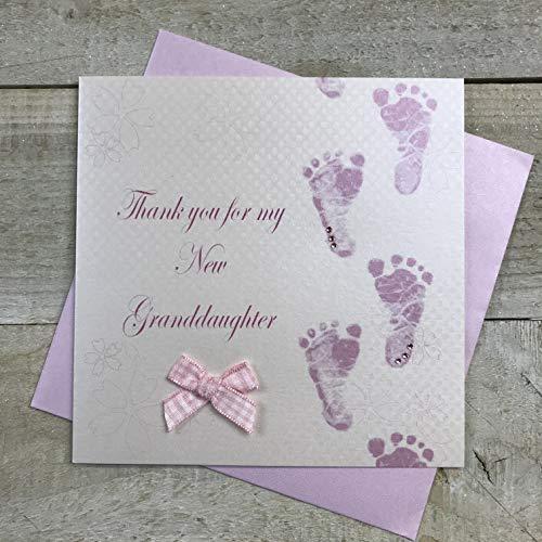 WHITE COTTON CARDS Code wb225-gd Rosa Footprints Thank You for My New Granddaughter Rifinito a Mano della Nipote di