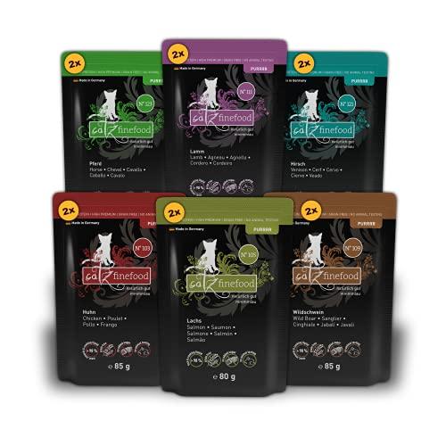 catz finefood Purrrr Collection II - Monoprotein Katzenfutter nass - getreidefrei, zuckerfrei, hypoallergen - hoher Fleischanteil - Multipack Nassfutter für Katzen - im Beutel, 12 x 80g-85g