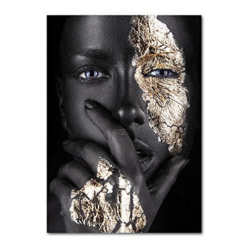 YWOHP Schwarzweiss-Engelsflügel-Mode-Plakat Golden Silver Woman Leinwanddruck Gemälde Girl-30x40cm_Unframed_Picture_5