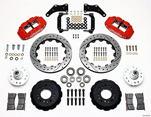 "WILWOOD DISC BRAKE KIT,FRONT,58-70 IMPALA FOR CPP 2/"" DROP,13/"" DRILLED ROTORS,BLK"