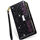 Galaxy S20 FE 5G Case Bling Wallet,Kudex [9 Card Slots] [Zipper Pocket] Glitter Leather Stand Flip Wallet Purse Handbag Case with Wrist Strap for Samsung Galaxy S20 FE/S20 Lite 6.5Inch(Black)
