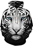 EUDOLAH Sudadera Casual de Invierno para Mujer con Capucha y Motivo 3D y Bolsillo Canguro(6-Cara de Tigre,S-M)