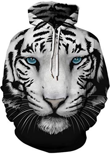 EUDOLAH Sweat-Shirt Femme Hiver Casual Sweats Se Sport 3D Motif avec Pochette(S/M,Tigre Face-6)
