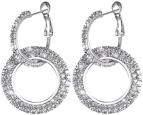 SQHGFFF Platino Lleno de Plata esterlina con aretes de aro de Cristal Brillante de Diamante para Mujeres, Pares, Pendientes.