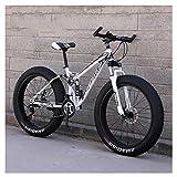 Xiaoyue Erwachsene Mountain Bikes, Fat Tire Doppelscheibenbremse Hardtail Mountainbike, Big Wheels Fahrrad, High-Carbon Stahlrahmen, New Blau, 26 Zoll 27 Geschwindigkeit lalay