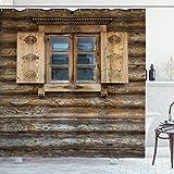ABAKUHAUS persianas Cortina de Baño, Cabaña de Madera del Obturador, Material Resistente al Agua Durable Estampa Digital, 175 x 200 cm, marrón Beige