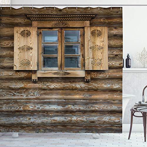 ABAKUHAUS Rustik Duschdraperiet, Trästuga Shutter, Badrumsdekor med tygtyg med krokar, 175 x 200 cm, brun Beige