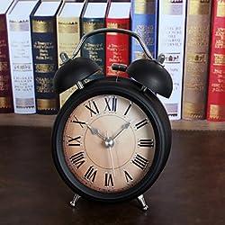 CLOCKS CC Vintage 3D Metal Jow Alarm Clock Double Bell Desk Clocks Twin Ring Clock Home Office Mute Night Light Clock , white