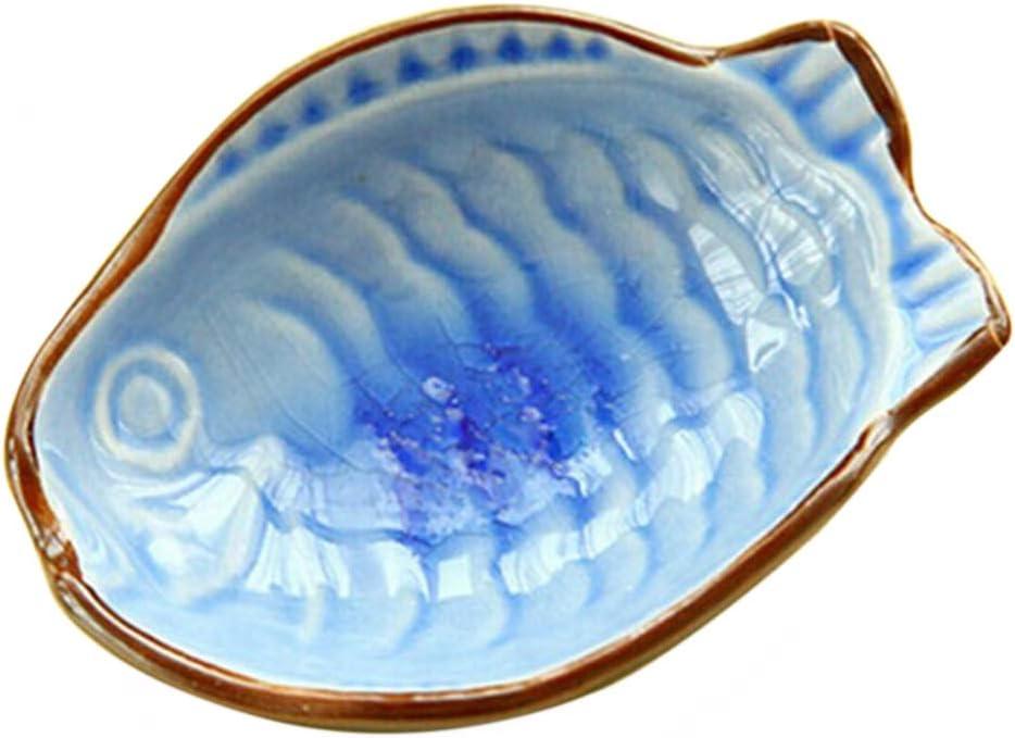 Aztnrwen Piatto Di Salsa Di Soia A Forma Di Foglia In Ceramica Colorata//Blu 4 Pezzi