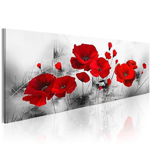 KKZZZ sobre imágenes Rojo de Las Amapolas Parcialmente Pantalla Cuadro en Lienzo no Tejido Impermeable Arte Mural Imprimir Pared decoración de la Pared Sala de Estar decoración Moderna,60x180cm