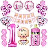 Ceqiny 1 Geburtstag Dekoration Happy Birthday Banner Alles Gute zum Geburtstag Banner Konfetti Helium Latex Herz Folieballon 1 first Birthday Girl Baby Flaschen Luftballons für Kinder Jungen, Roserot