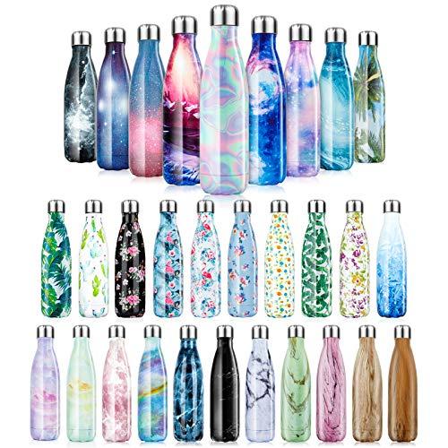 500ml Edelstahl Wasserflasche Vakuum Isolierte Wasserflaschen Wiederverwendbare doppelwandige Trinkflasche 24 Stunden Hot &12 Stunden Kalte Sportflasche für Wandern Laufen Camping, Arbeit, Fitnessraum