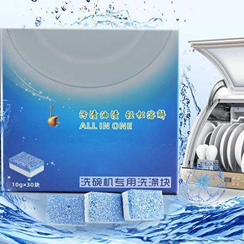 Fezbd Gecomprimeerde vaatwasser, wasblokken voor kleine huishoudelijke apparaten, tafelservies, solide blok voor de reiniging, efficiënte desinfectie (10 g x 30 tabletten)