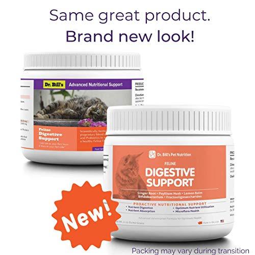 Dr. Bills Feline Digestive Support  Pet Supplement   Prebiotics & Probiotics  Digestive Enzymes   Includes Includes Ginger Root, Lemon Balm, Psyllium Seed, Bifidobacterium   60 Grams