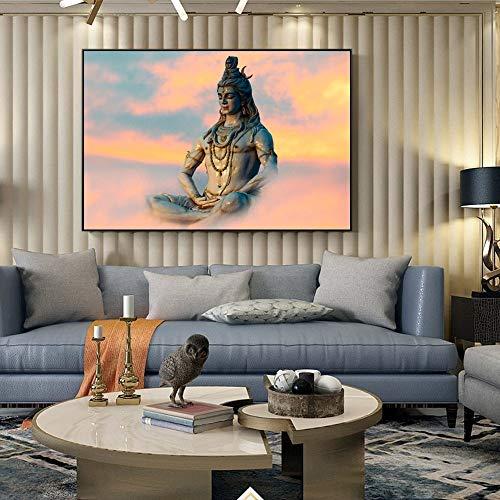 wZUN Shiva Poster Arte de la Pared Lienzo Pintura Dios hindú Lienzo Arte impresión hindú Arte Imagen 60X90 Sin Marco