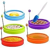 5 anelli per uova in silicone, antiaderenti, per uova al tegamino (blu, verde, arancione, viola, rosso)