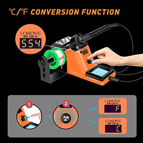 LONOVE Soldering Iron Station Kit – 60W Solder Station 194℉-896℉ Adjustable Temperature, LED Display, Sleep Function, C/F Switch, 2 Helping Hands, 5 Extra Solder Tips & 1 Solder Wire