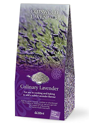 English Culinary Lavender Flowers by Cotswold Lavender. Pure English Flower Grains. Perfect for Tea, Cooking, Baking, Jams, Chutneys, Garnish or Ice Cream. Recipe Card Included. Volume 7floz / 200ml