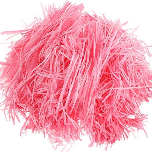 200 Gramos de Papel de Hierba de Pascua Papel de Seda en Tiras de Hierba de Cesta de Pascua Relleno de Regalo para Cesta de Pascua, Relleno de Embalaje de Caja de Regalo (Rosa)