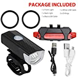 Creacom Linterna LED Recargable USB para Bicicleta, Linterna LED Recargable USB para Bicicleta Luz Delantera de Bicicleta Lámpara Trasera Delantera