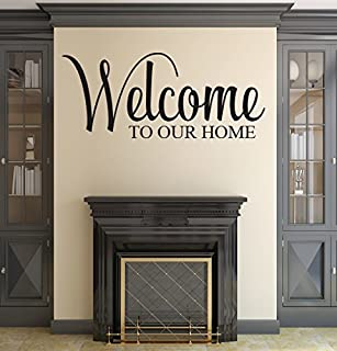 Pinkie Penguin Welcome to Our Home Wall Decal Quote Home Decor Vinyl Wall Art (42W x 18H)