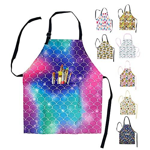 Sosolong Delantal impermeable con cuello ajustable para niños, con bolsillo para cocinar, hornear, pintar, jardinería, edades de 3 a 12 años, Delantal de sirena, Ages 3-12