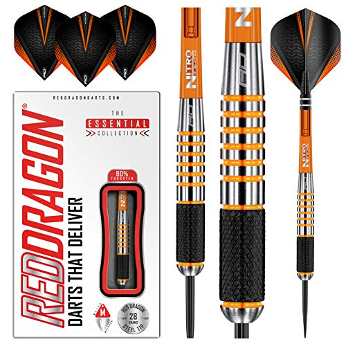 RED DRAGON Amberjack 9:Steel Dartpfeile 28 Gramm Profi Steeldarts Set, 3 x Steel Darts mit Flights und Schäfte