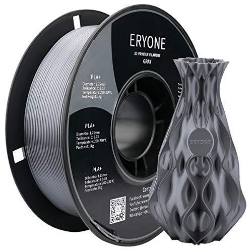 ERYONE PLA + Filamento 1,75 mm Filamento per Stampante 3D PLA Plus Filamento per Stampa 3D con Penna Rotolo da 1 kg (2,2 Libbre) + -0,03 mm, Grigio