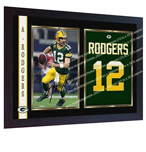 SGH SERVICES Gerahmtes Autogramm von Aaron Rodgers Green Bay Packers, NFL Signiertes Autogramm, Vordruck, American Football NFL Signiertes Autogramm, Fotodruck, gerahmt