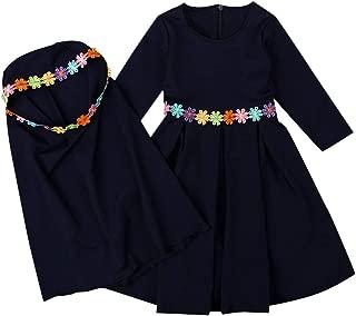 ChainSee Baby Girl Kids Islamic Muslim Long Sleeves Long Dress + Embroider Hijab Sets