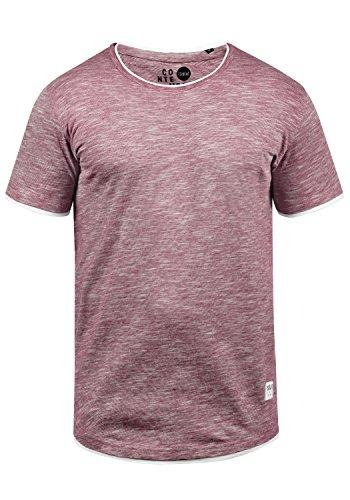 !Solid Rigos Herren T-Shirt Kurzarm Shirt Mit Rundhalsausschnitt Im Double-Layer-Look Aus 100% Baumwolle, Größe:L, Farbe:Wine Red (0985)