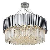 Phube Modern Crystal Chandelier Luxury Hanging Lamp Contemporary Pendant Light Elegant Ceiling Lamp Lighting Fixture for Island Living Room Bedroom(Round-Chrome-40CM)