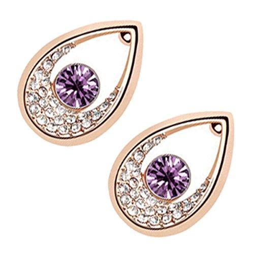 UPCO Jewellery Pendientes tipo gota de agua con una piedra redonda purpura aliñeada rodeada por cristales, de 14 x 20 MM bañados en oro amarillo 18 K