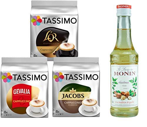 Tassimo® meets Monin® | Set 16 | Cappuccino | Sirup | Jacobs | Gevalia | L'OR | 3 verschiedene Tassimo Sorten & 1 Flasche Monin Haselnuss Sirup 250ml