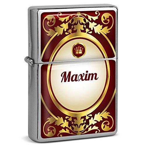 PhotoFancy® - Sturmfeuerzeug Set mit Namen Maxim - Feuerzeug mit Design Ornamente - Benzinfeuerzeug, Sturm-Feuerzeug