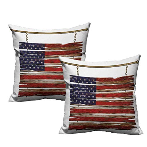 Two Piece Decorative Pillow United States Flag Painted Wooden Planks 4th of July Design Illustration 26