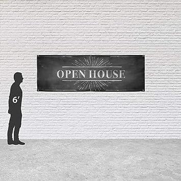 CGSignLab Open House Chalk Burst Heavy-Duty Outdoor Vinyl Banner 12x4