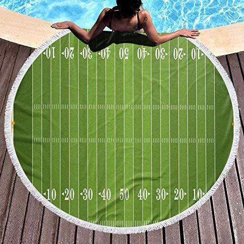 Toalla De Playa Redonda,Láminas De Baño De Microfibra Impresora 3D Extra Grande Campo De Deportes De Fútbol Juegos De Jardín Verde Manta De Tiro De Playa Toallas De Playa Grandes Alfombra De Picn
